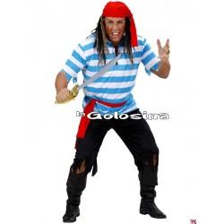 Disfraz Ad. Pirata rayas azul-blanco