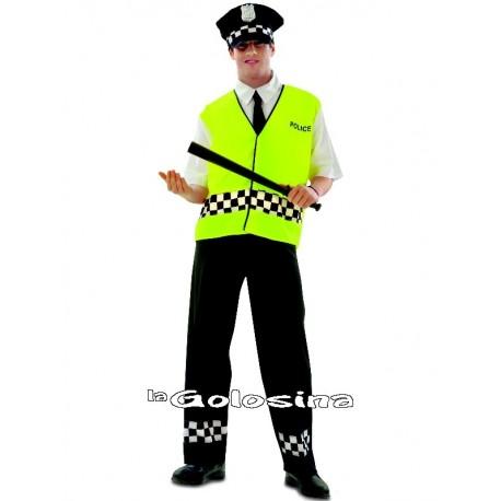 Disfraz Ad. Policia chaleco fosfo.