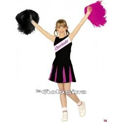 Disfraz Inf. Nina Cheerleader negro y rosa