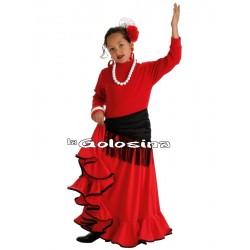 Falda Inf. Nina Roja borde negro