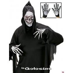 Guantes cortos con dibujo de esqueleto