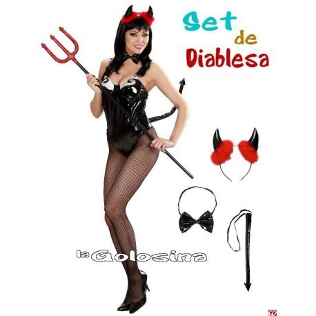 Set Diablesa Negro diadema, pajarita, rabo